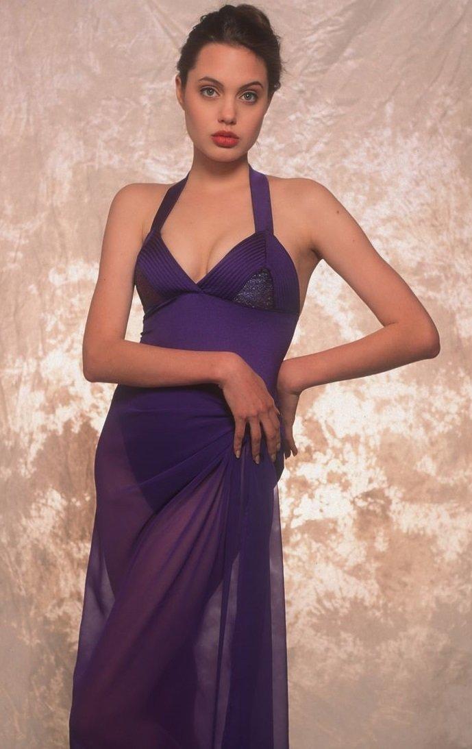Glitzy bits: Young Angelina Jolie in bikini.