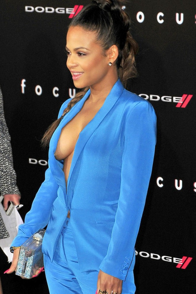 Christina Milian and Karrueche Tran seen at the movie premiere of 'Focus' at the TCL Chinese Theatre in Hollywood