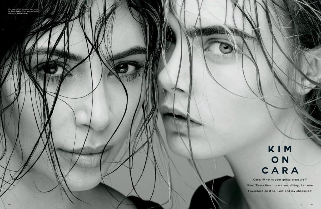 Kim Kardashian & Cara Delevingne in Love Magazine (2 New Photos)