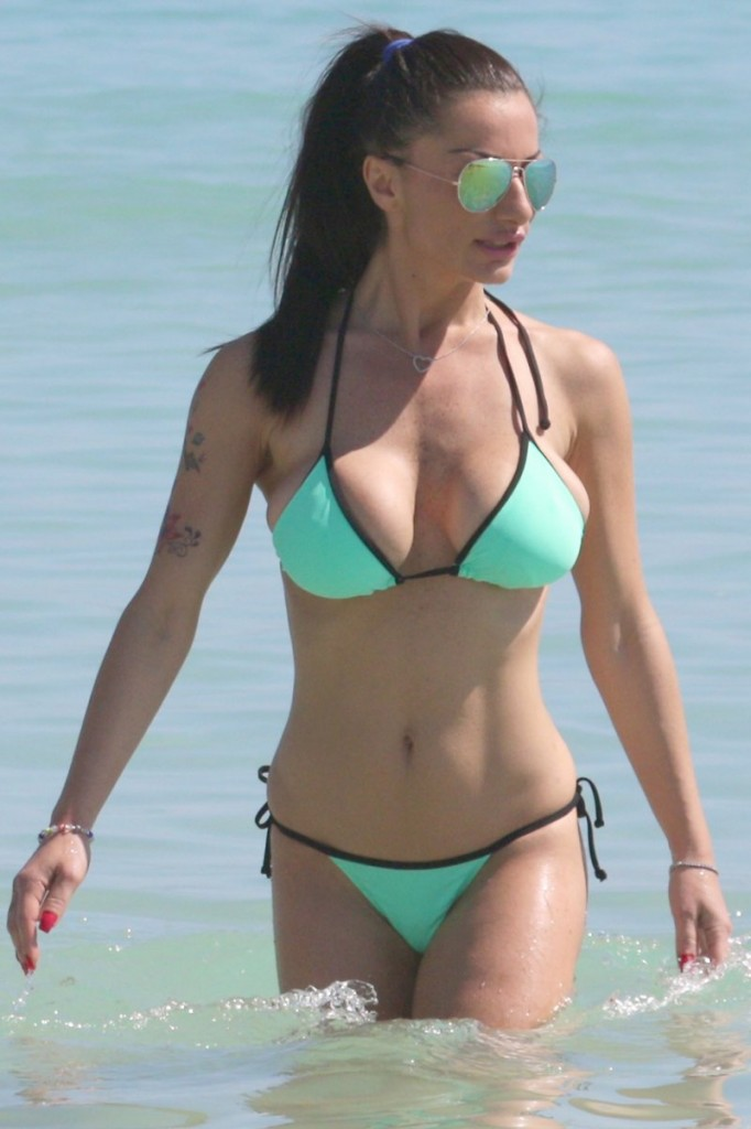*Contains Nudity* Priscilla Salerno jogging and topless at the beach in Miami