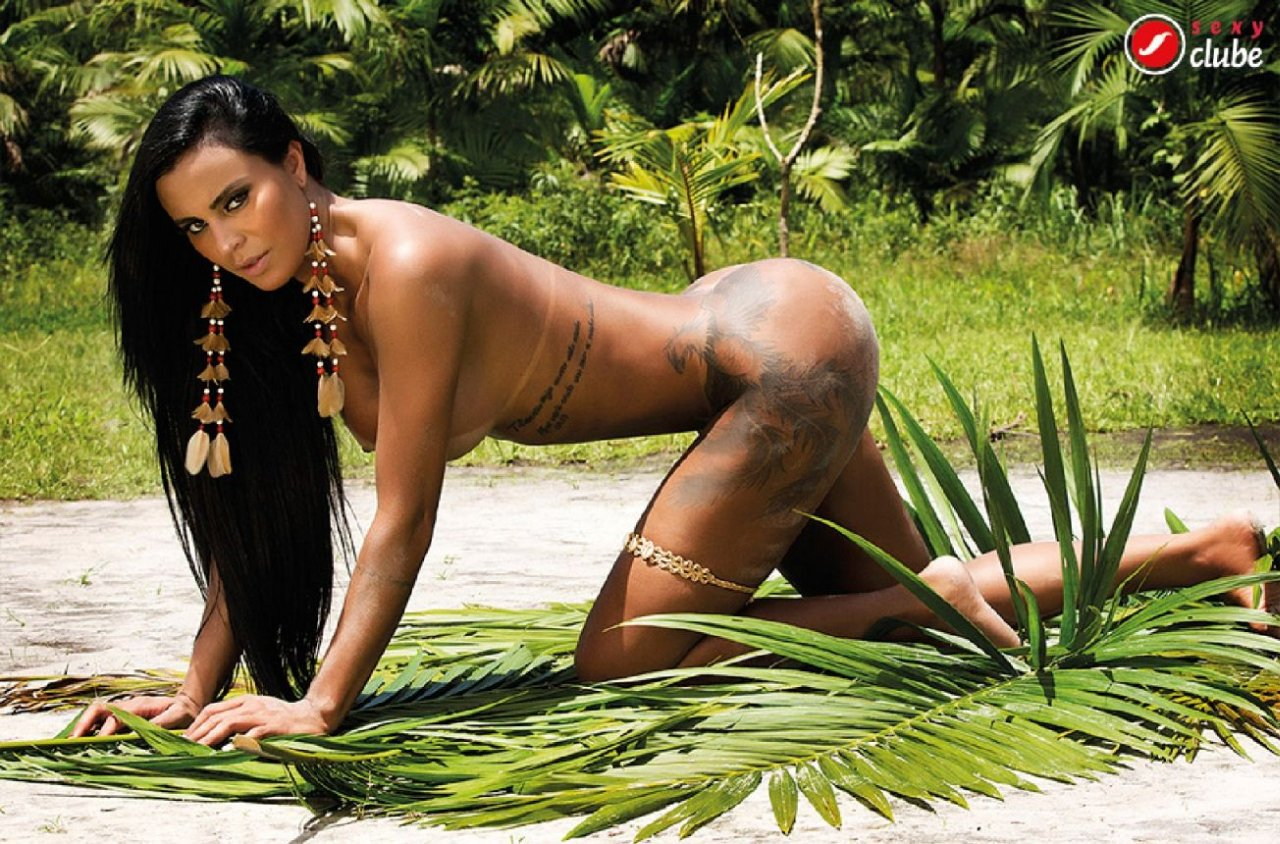 Naked survivor in the forest and jungle