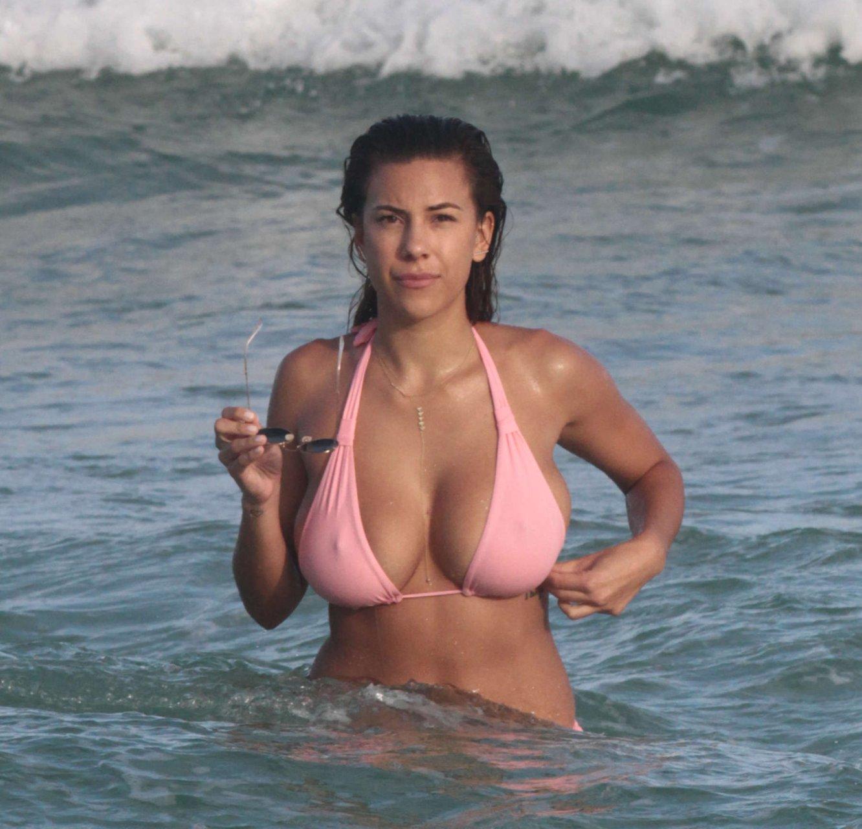 Black girl pink bikini