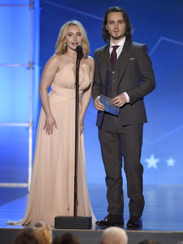 Hayden Panettiere, left, and Jonathan Jackson present the award for best acting ensemble at the 21st annual Critics' Choice Awards at the Barker Hangar on Sunday, Jan. 17, 2016, in Santa Monica, Calif. (Photo by Chris Pizzello/Invision/AP)