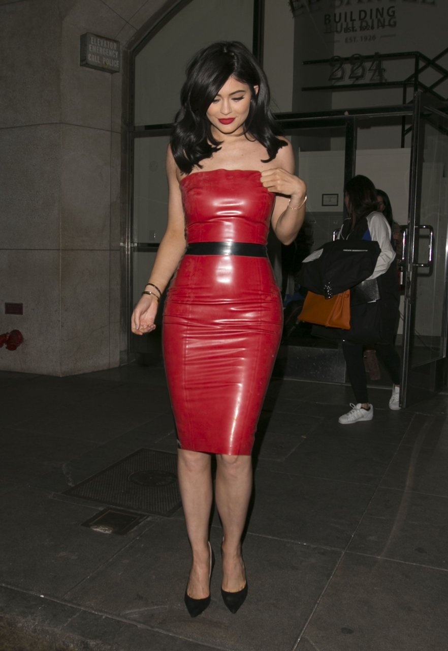 Holly Halston Latex within kylie jenner in a red latex dress (42 photos) | #thefappening
