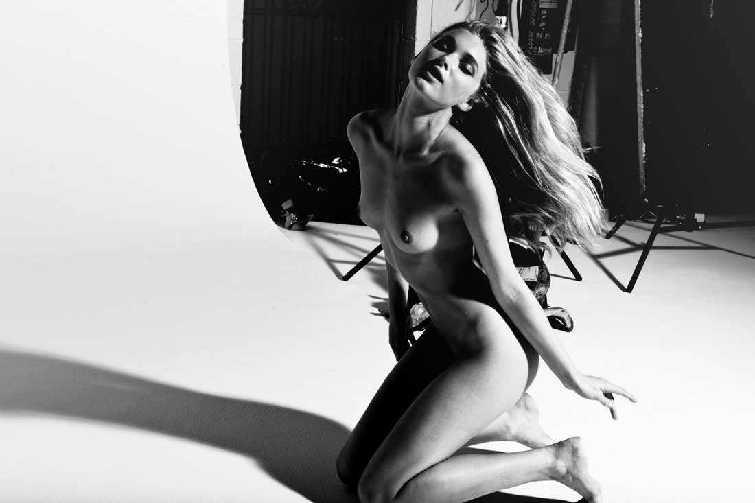 Elsa Hosk Topless - New B&W Photo