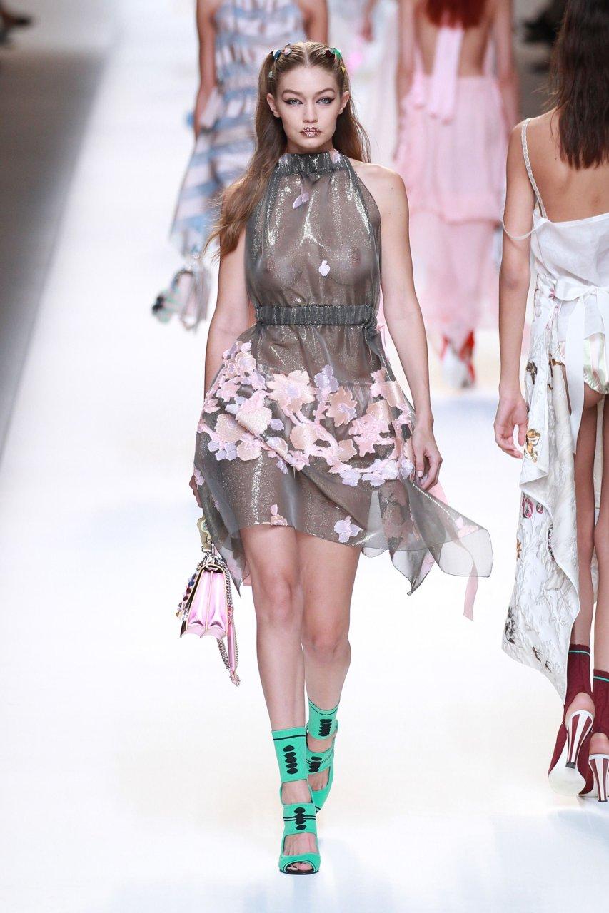 Gigi Hadid Fashion Week Nip Slip