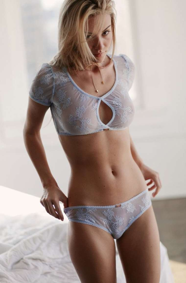 Blonde d cup naked woman