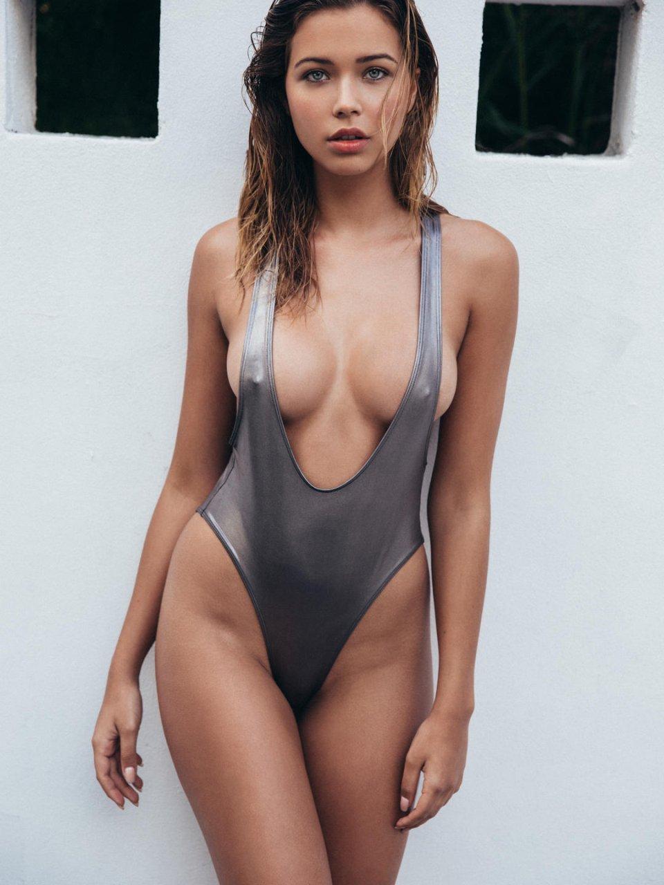 Skinny big tit brunette