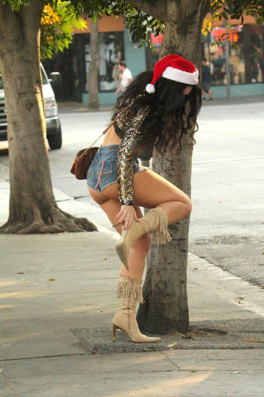 9f57d40605a Natasha Blasick - Spotted In a Santa Hat   Denim Shorts in Los Angeles !!!