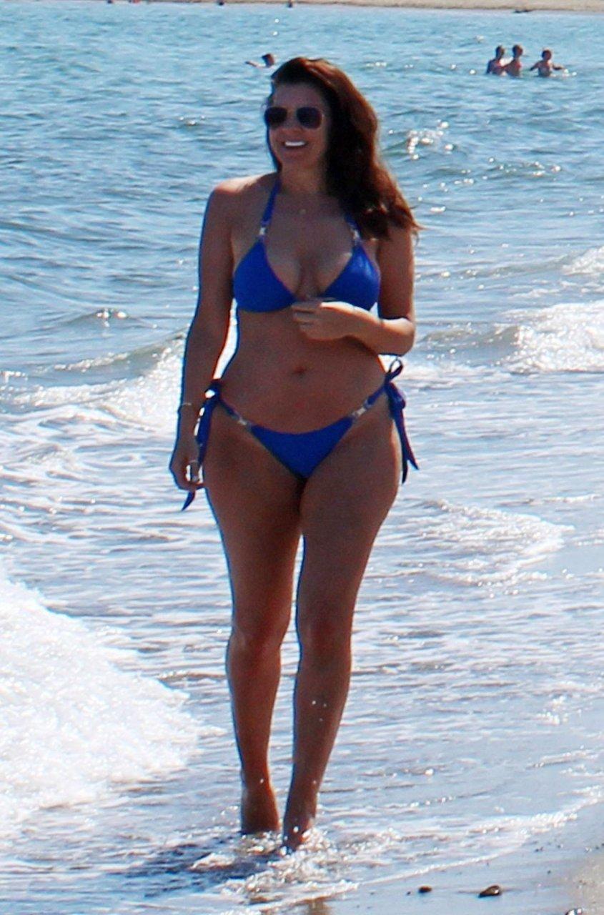 Imogen Thomas wearing a bikini on a beach in Marbella 24/5/2018
