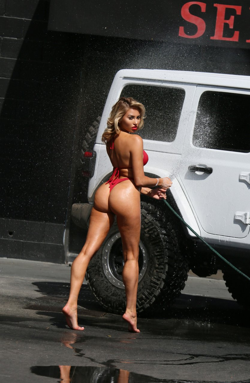 4 girls wash jeep and lick tight cunts - 1 2