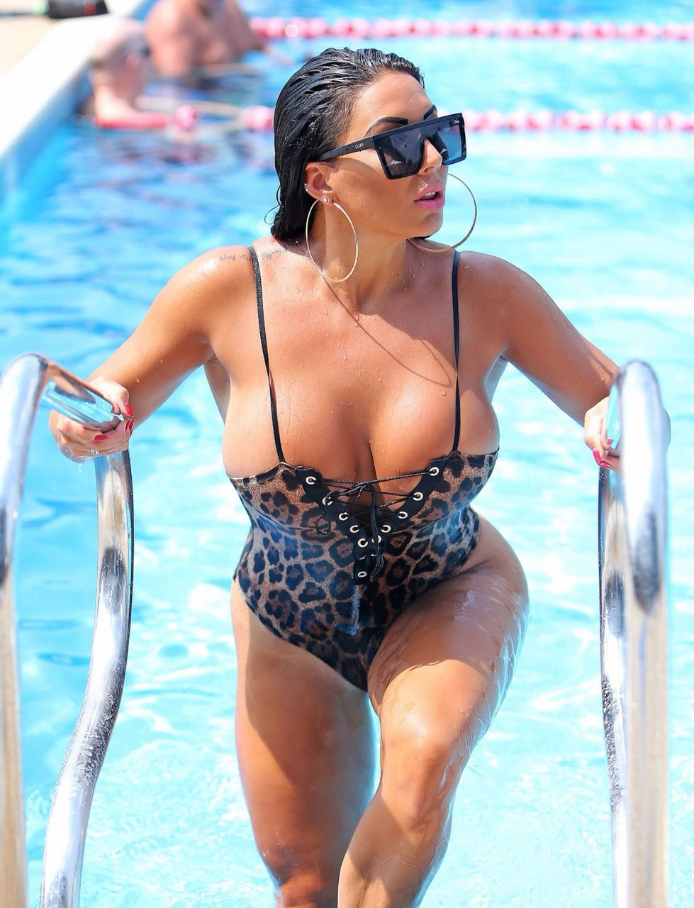 Grace J Teal was spotted in leopard print swimming costume at David Lloyd Centre in Southend, Essex, 07/13/2018.