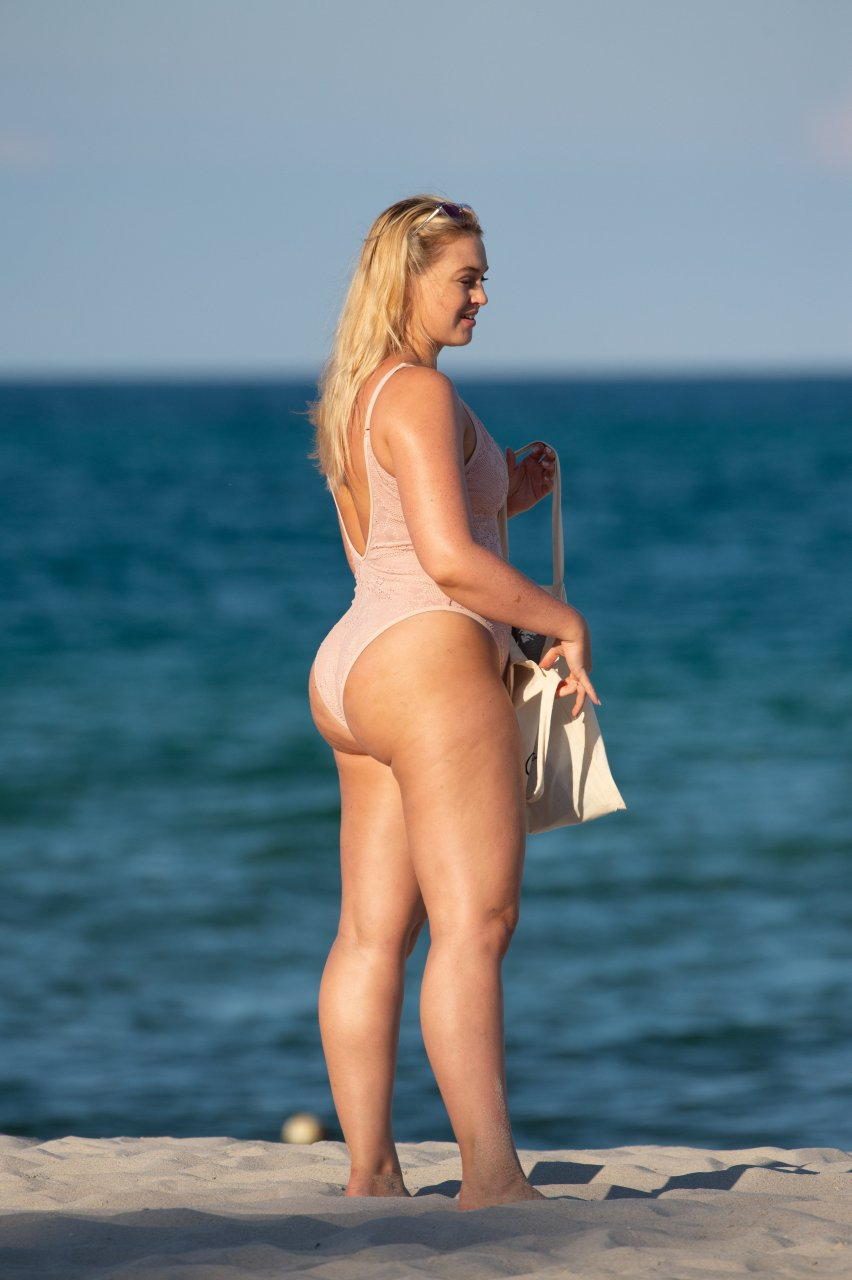 Iskra Lawrence – In a pink one piece swimsuit in Miami Beach July 14-2018