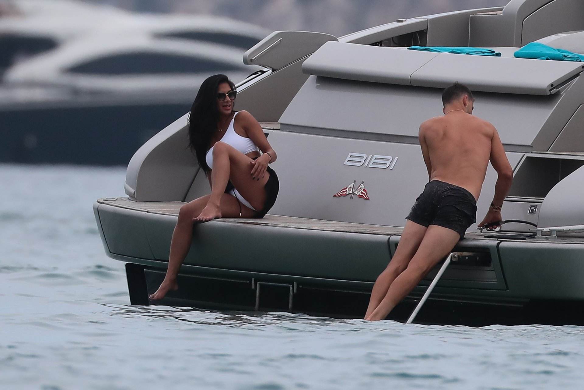 Nicole Scherzinger flashing her panty in St Tropez, South of France with her boyfriend, 07/22/2018.