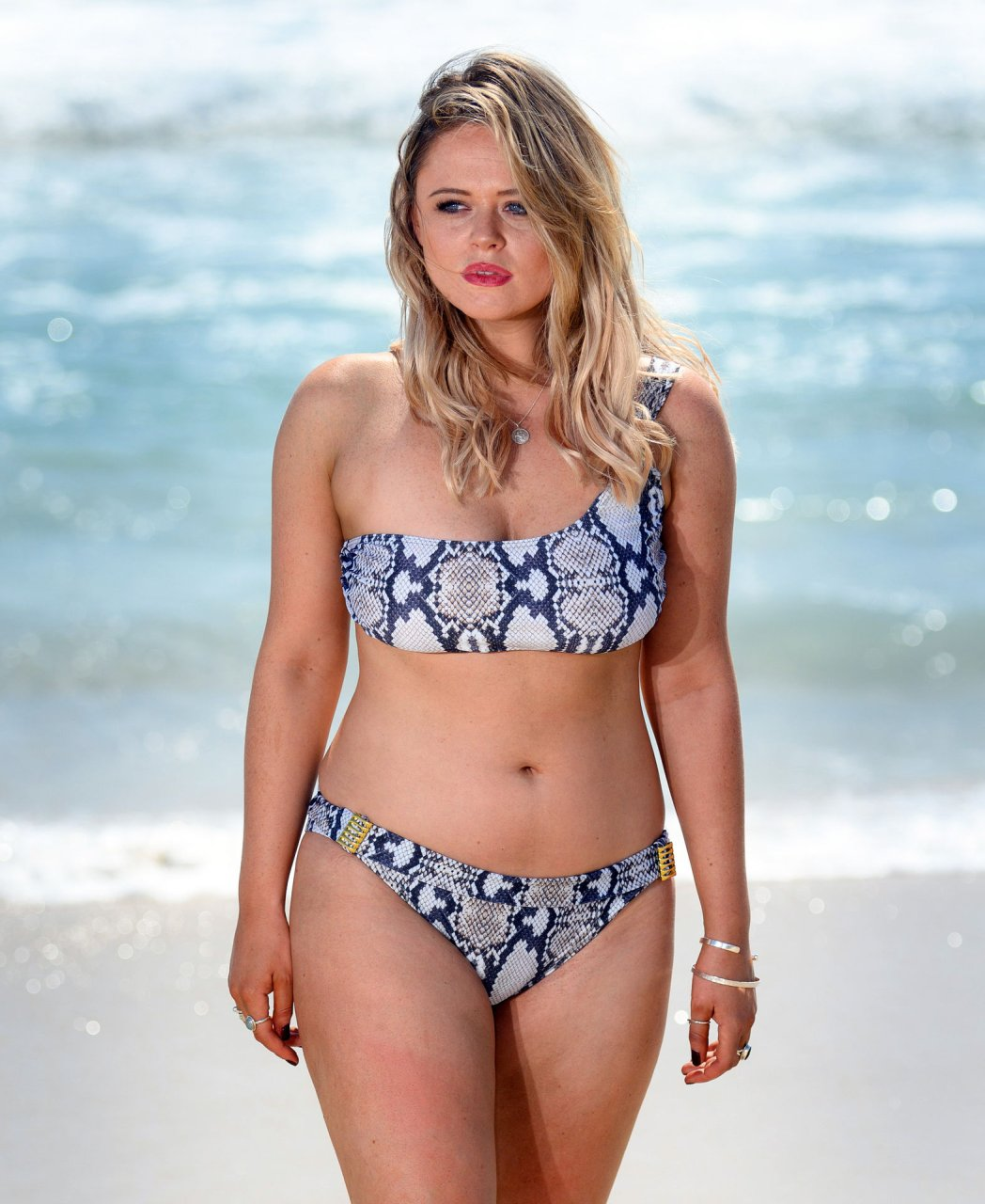 Emily Atack shows off her stunning bikini body on the beach in Queensland, Australia, 11/15/2018.