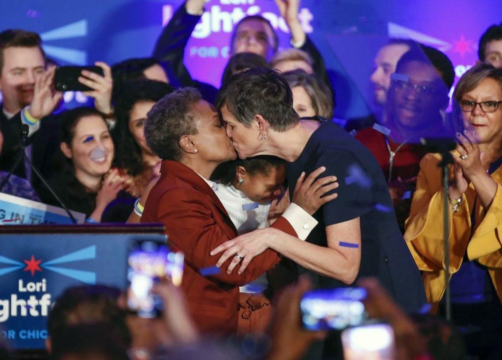 Lori Lightfoot & Amy Eshleman Lesbian Kiss (1 Photo)