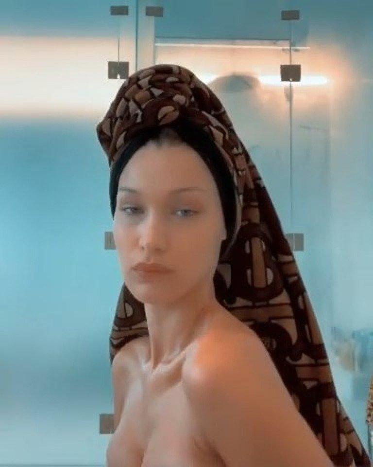 Bella Hadid Topless (4 Pics + Video)