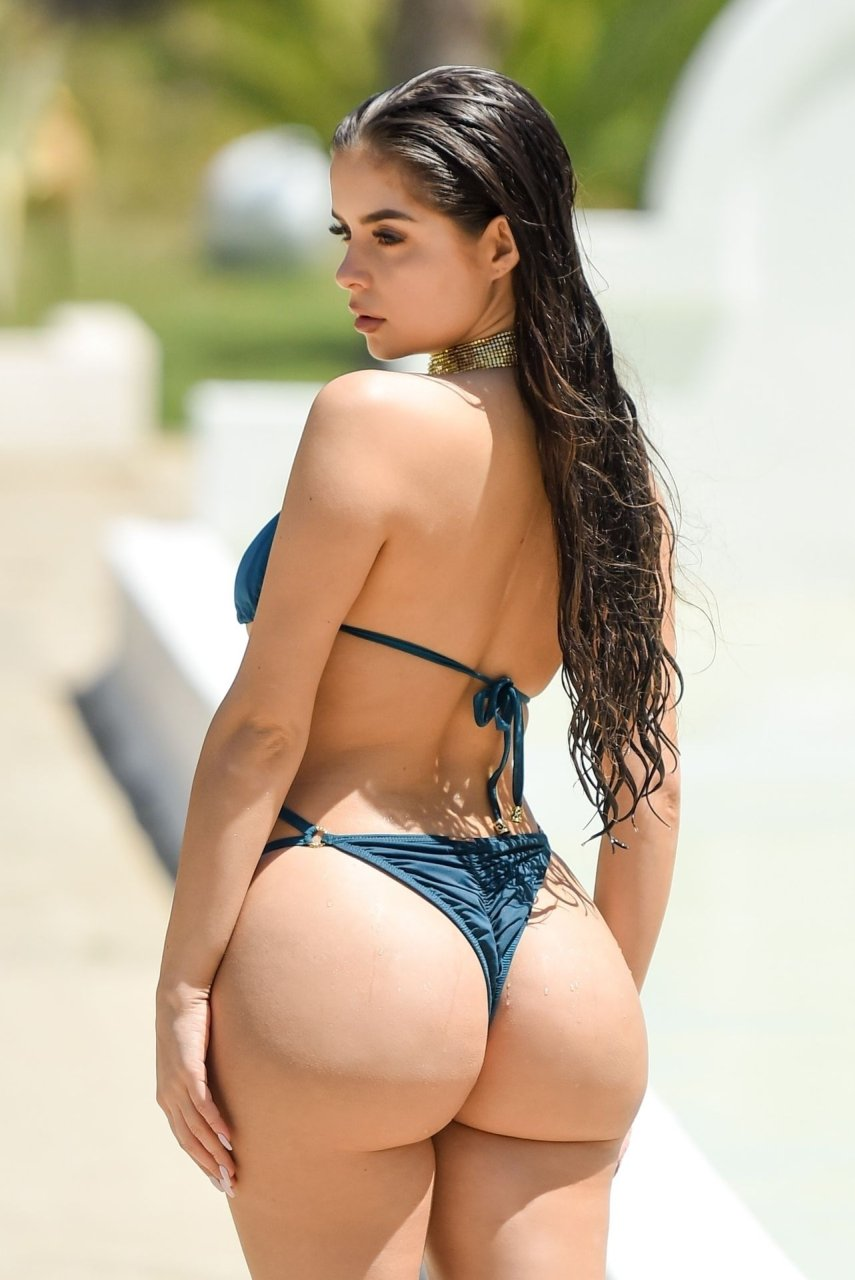 Demi Rose was seen posing in a tiny bikini during a photoshoot while in Tunisia (2019).