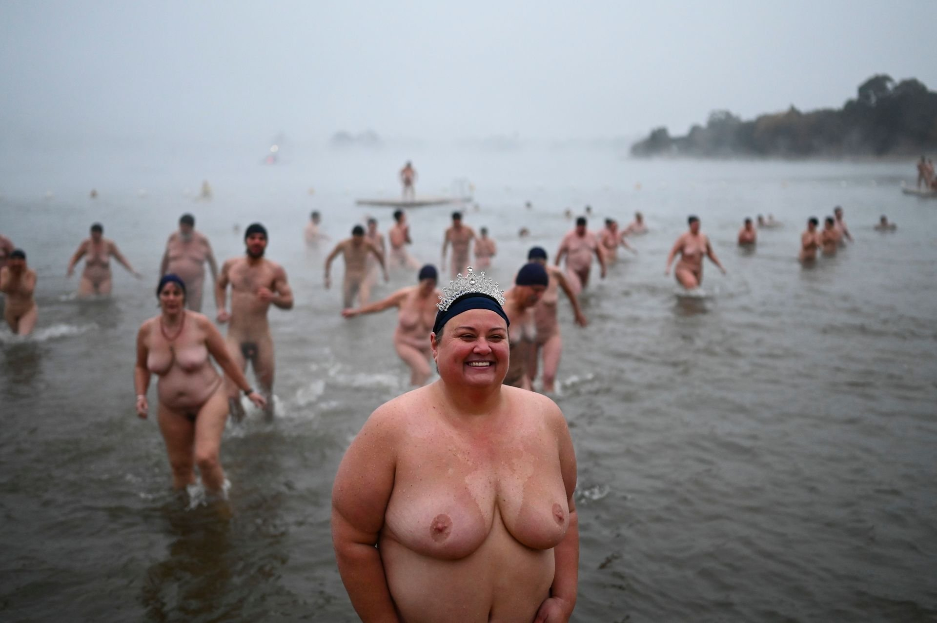 Naked Swimmers Brave The Winter Solstice Cold