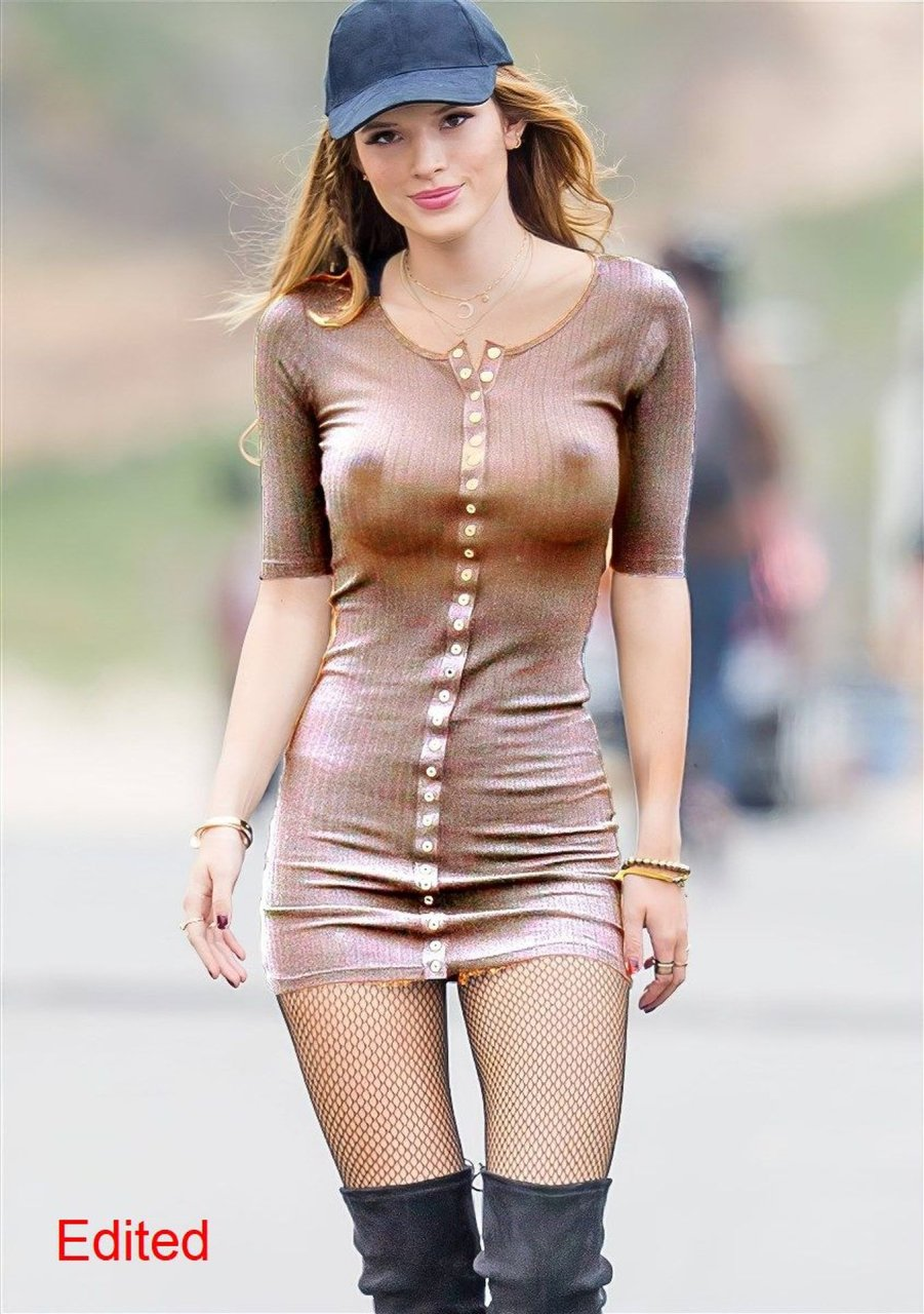 Bella Thorne Big Tits Sucking It In Pink Bikini
