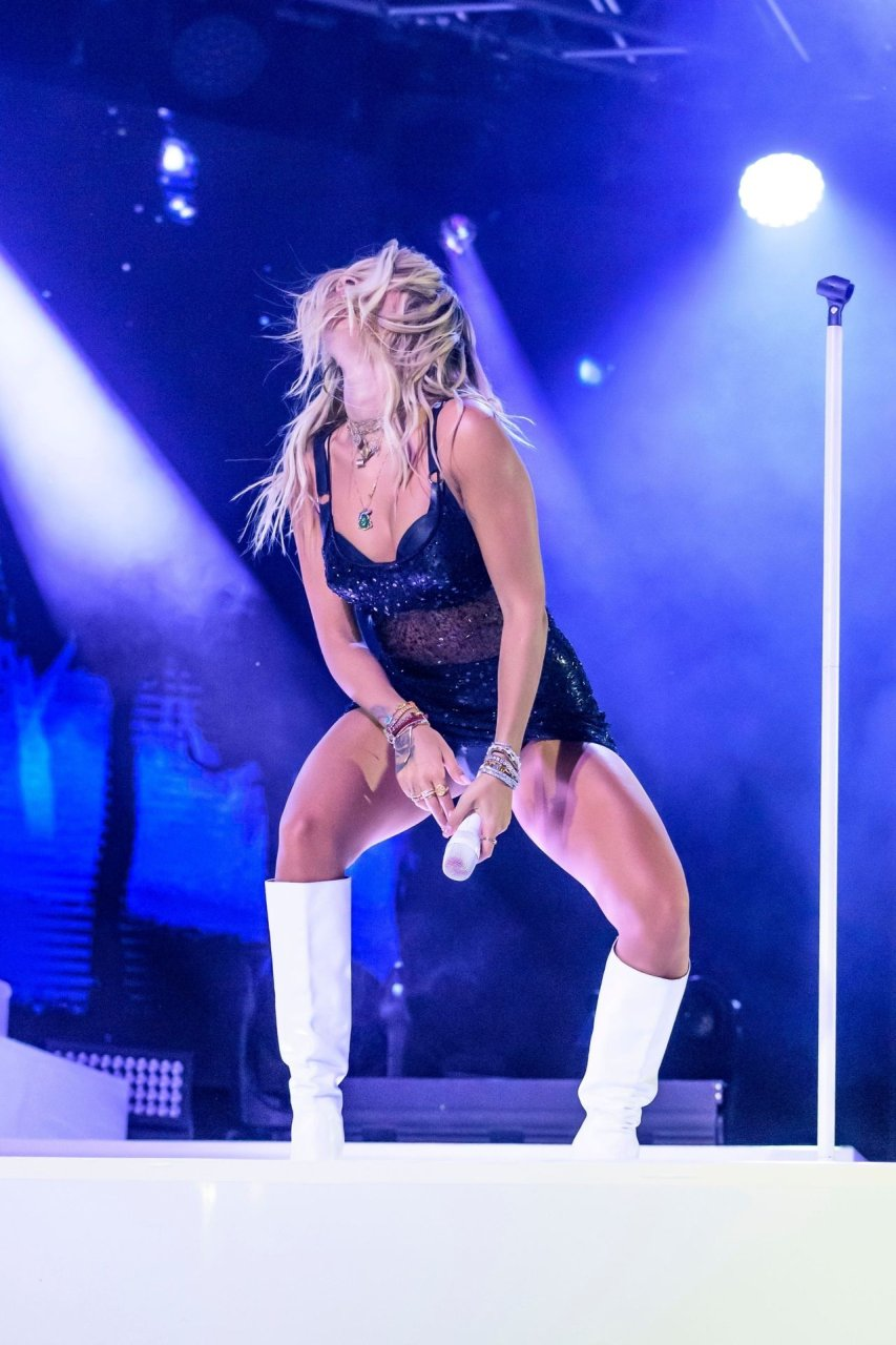 Rita Ora performs on stage at Windsor Racecourse for Live After Racing in London, 24-8-2019