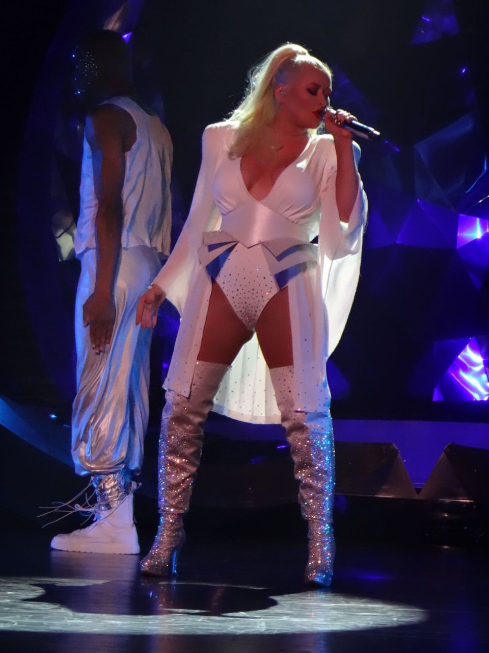 Christina Aguilera suffers a wardrobe malfunction at The Zappos Theater in Las Vegas, 27-9-2019