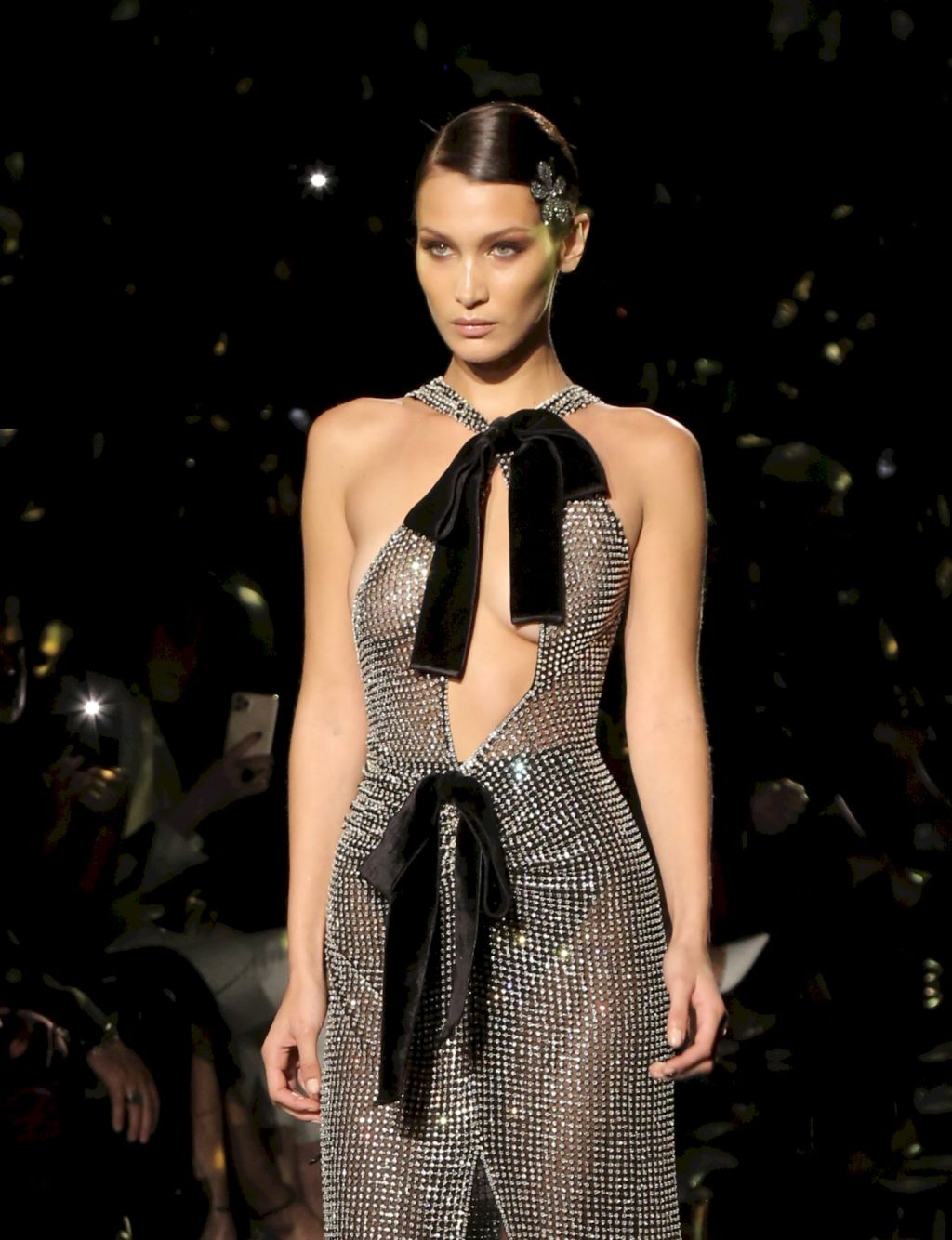 Bella Hadid Displays Her Tits at Tom Ford Fall/Winter 2020/2021 Show (18 Photos + Video)