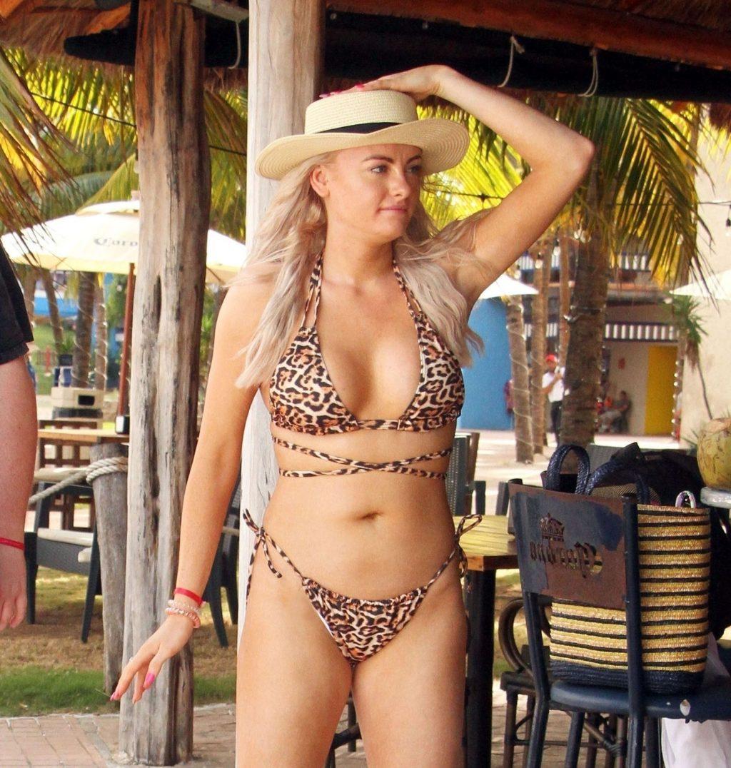 Katie McGlynn Rocks Animal Printed Bikini in Mexico (4 Photos)