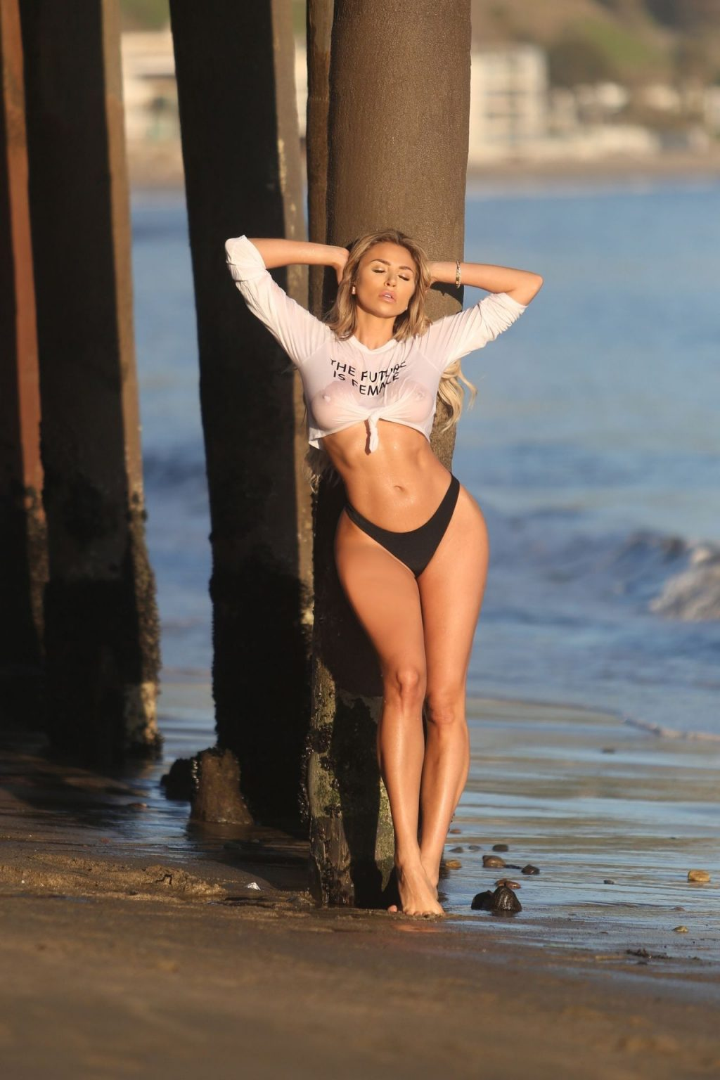 Khloe Terae Joins The No Bra Club as She Poses in a Wet T-shirt on the Beach (47 Photos)