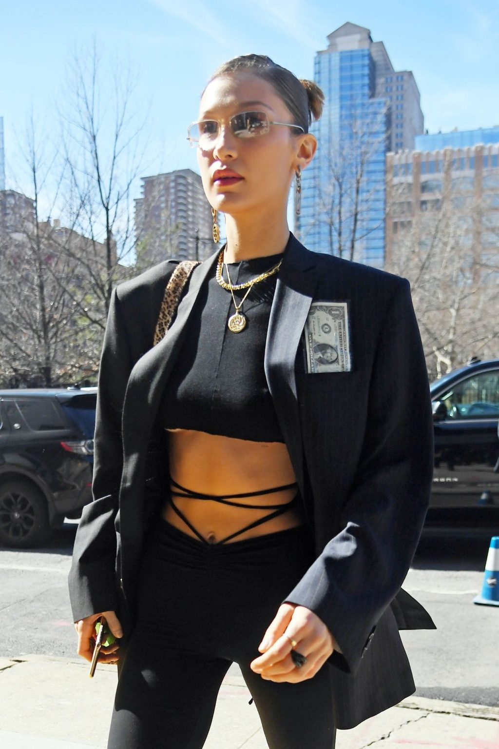 Bella Hadid Steps Out of The Bowery Hotel Wearing a Crop Top and Flashing a Peace Sign (10 Photos)