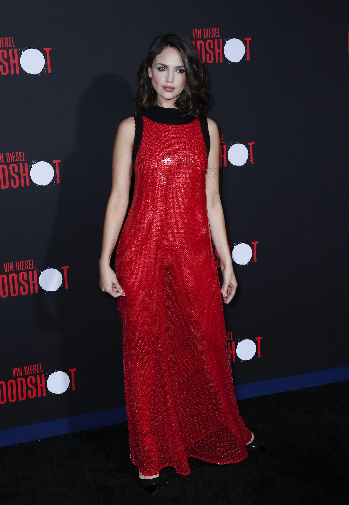 Eiza Gonzalez Stuns in a Red Dress at the Bloodshot
