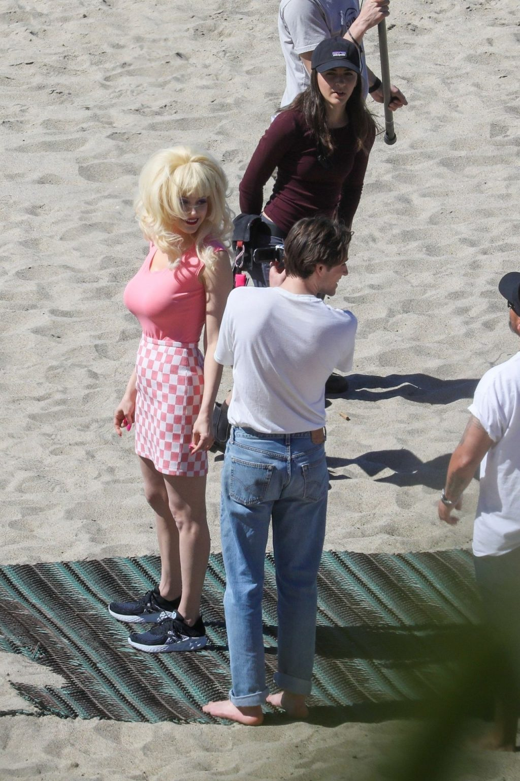 Emmy Rossum Films Scenes as the Iconic Angelyne on the Beach in Malibu (60 Photos)