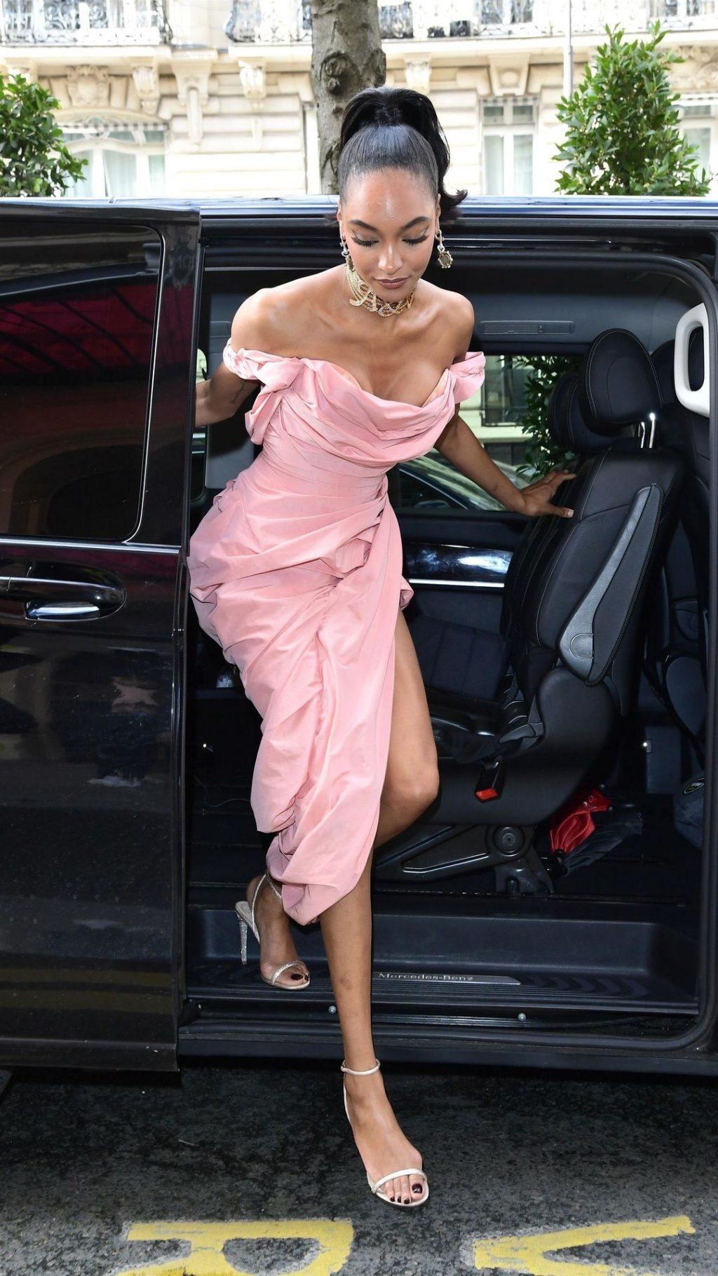 Jourdan Dunn Shows Her Cleavage at the Royal Monceau Hotel During Paris Fashion Week (7 Photos)