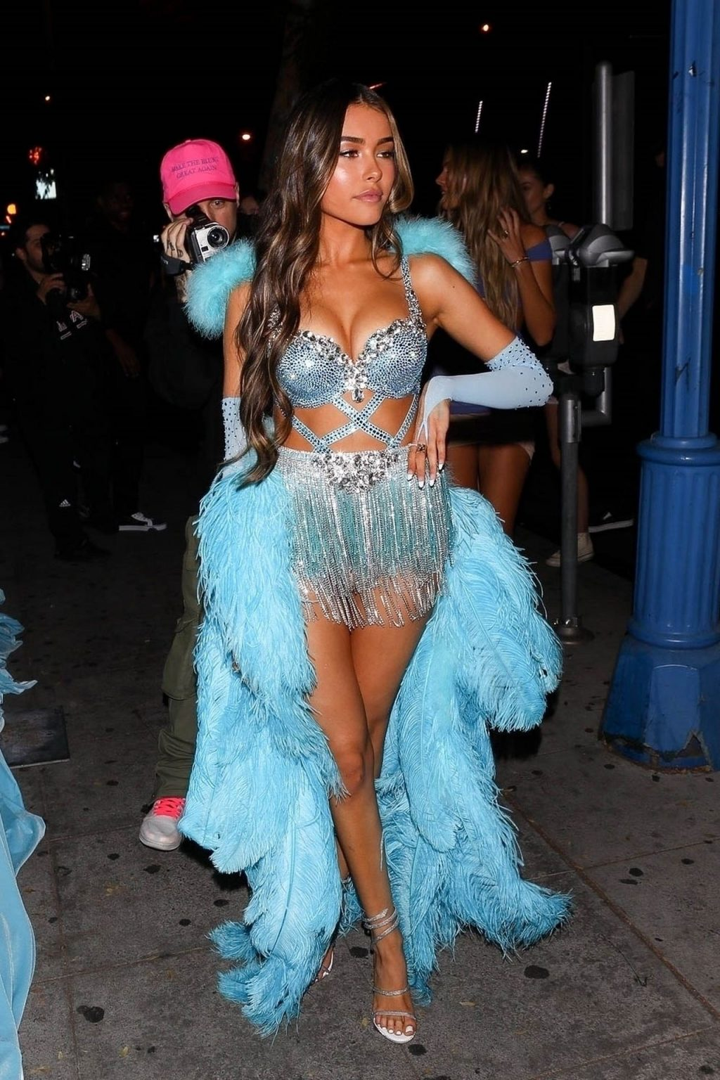 Madison Beer Puts On a Sexy Display in a Blue Feather Ensemble While Arriving at Her 21st Birthday Party (173 Photos)