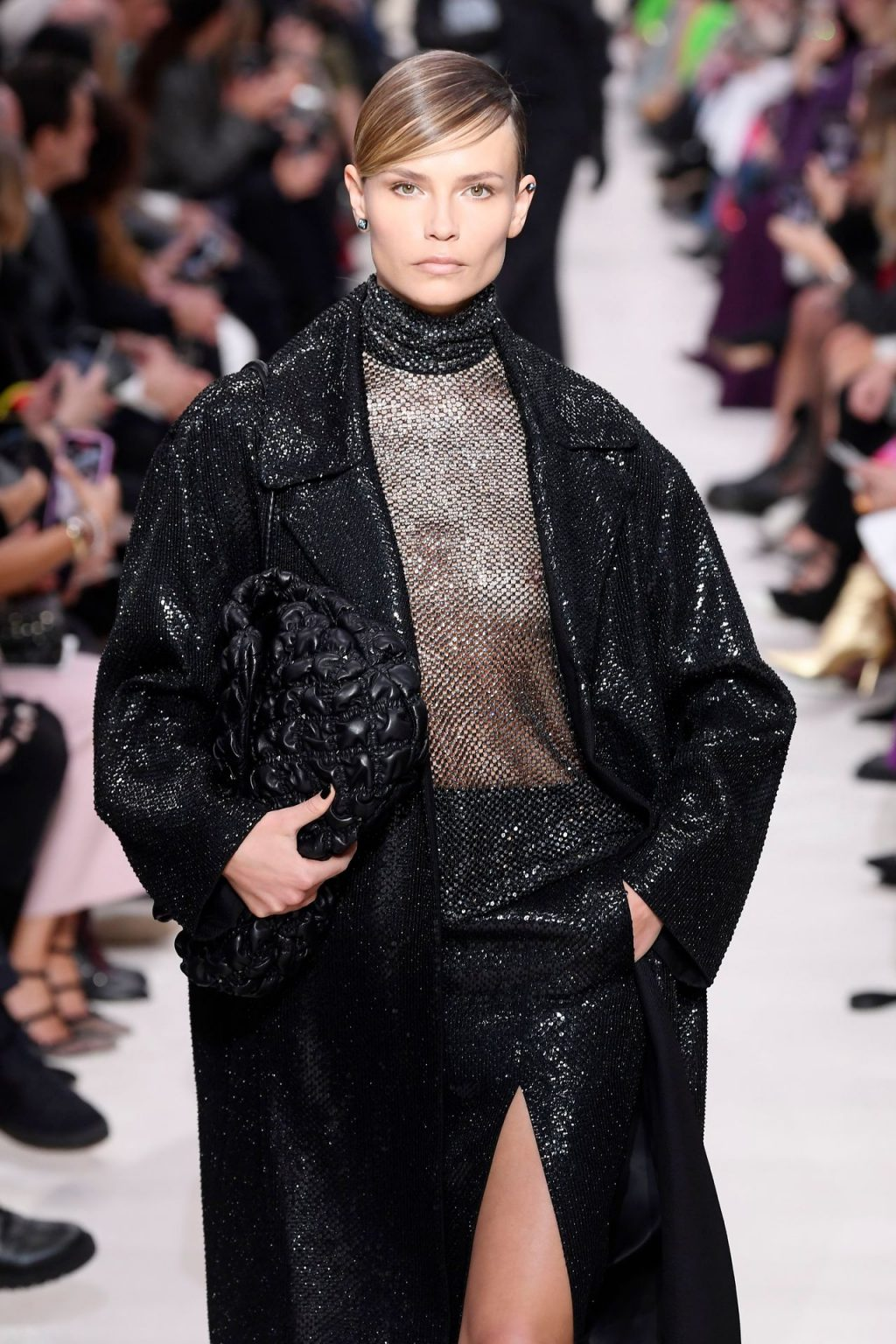 Natasha Poly Walks in a See Through Top on the Runway for the Valentino Show (8 Photos + GIF)