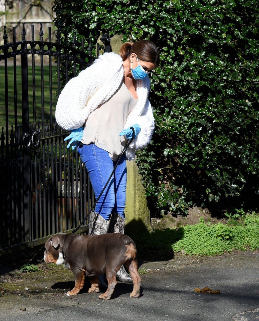 Tanya Bardsley Is walking with her Dog in Mask and Gloves in Cheshire (11 Photos)