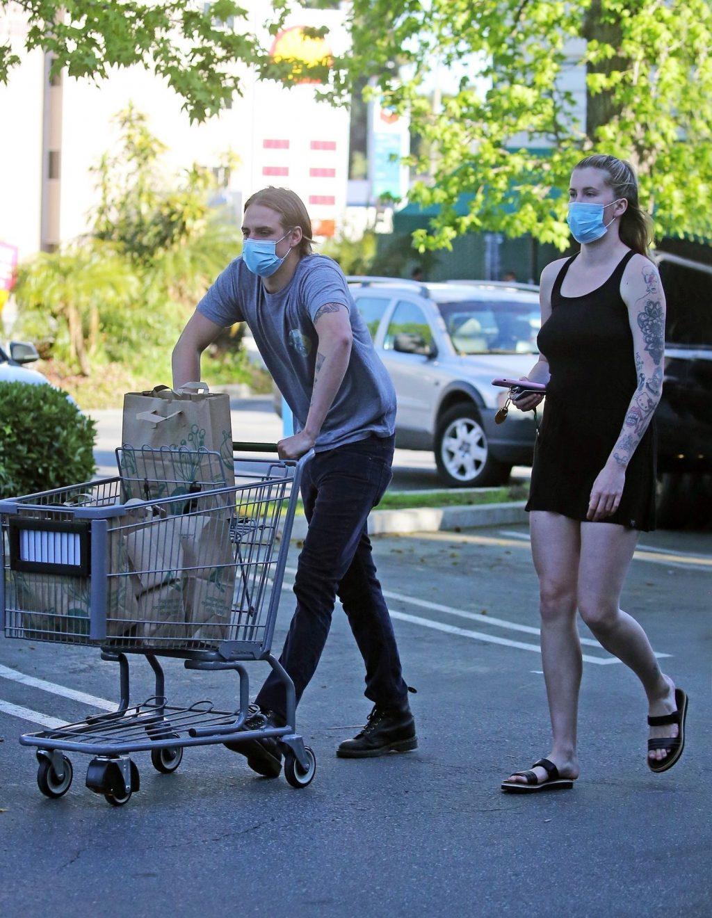 Ireland Baldwin & Corey Harper Wear Protective Masks While Shopping at Whole Foods (17 Photos)