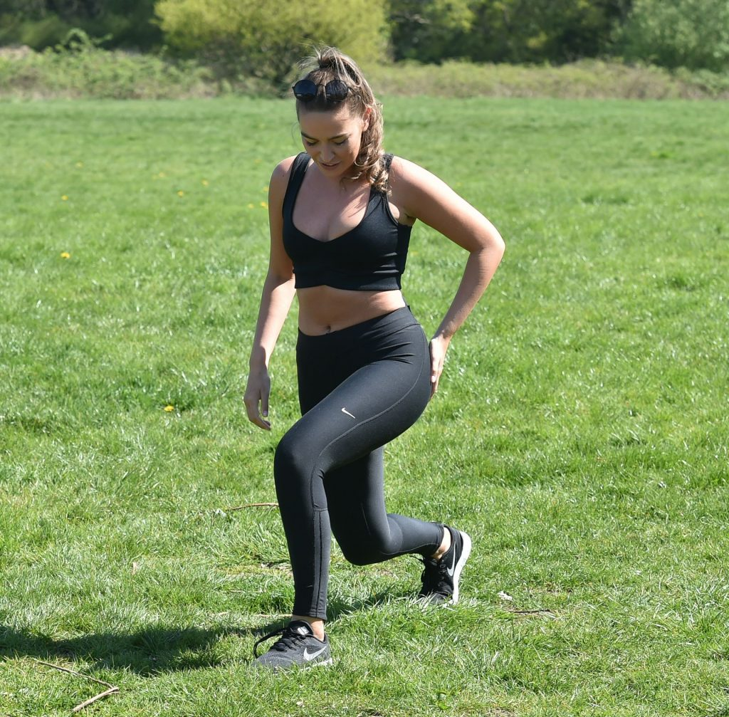 Chloe Ross Shows Her Cleavage Doing Her Morning Workout at a Park (17 Photos)