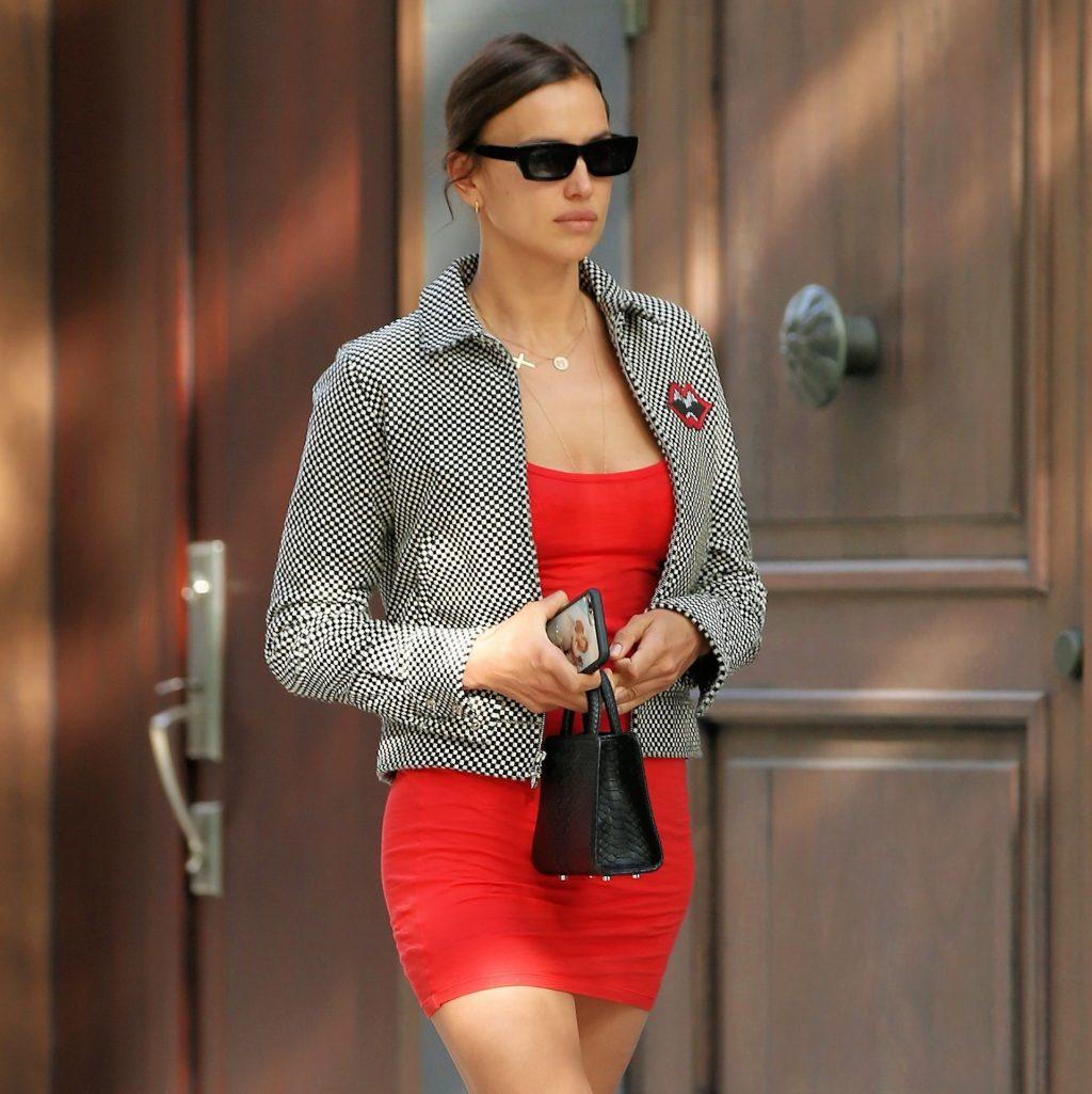 Leggy Irina Shayk Is Seen in a Short Red Dress (6 Photos)