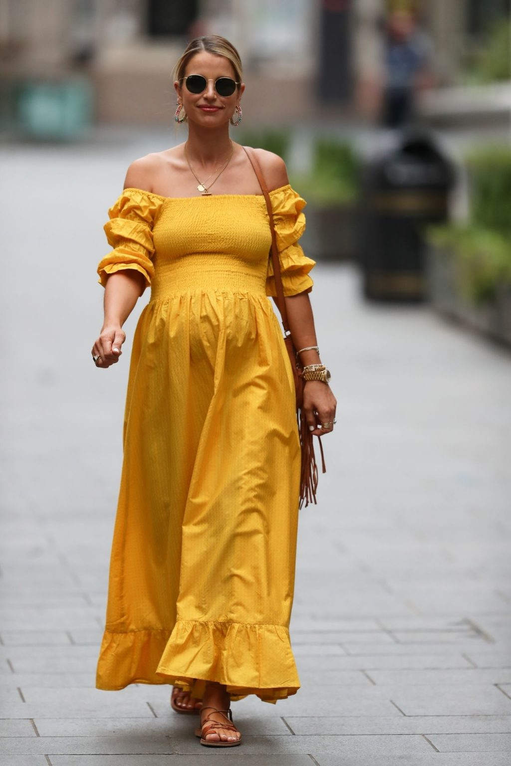 Vogue Williams Is Pictured Leaving Heart Radio Breakfast Show in a Yellow Dress (40 Photos)