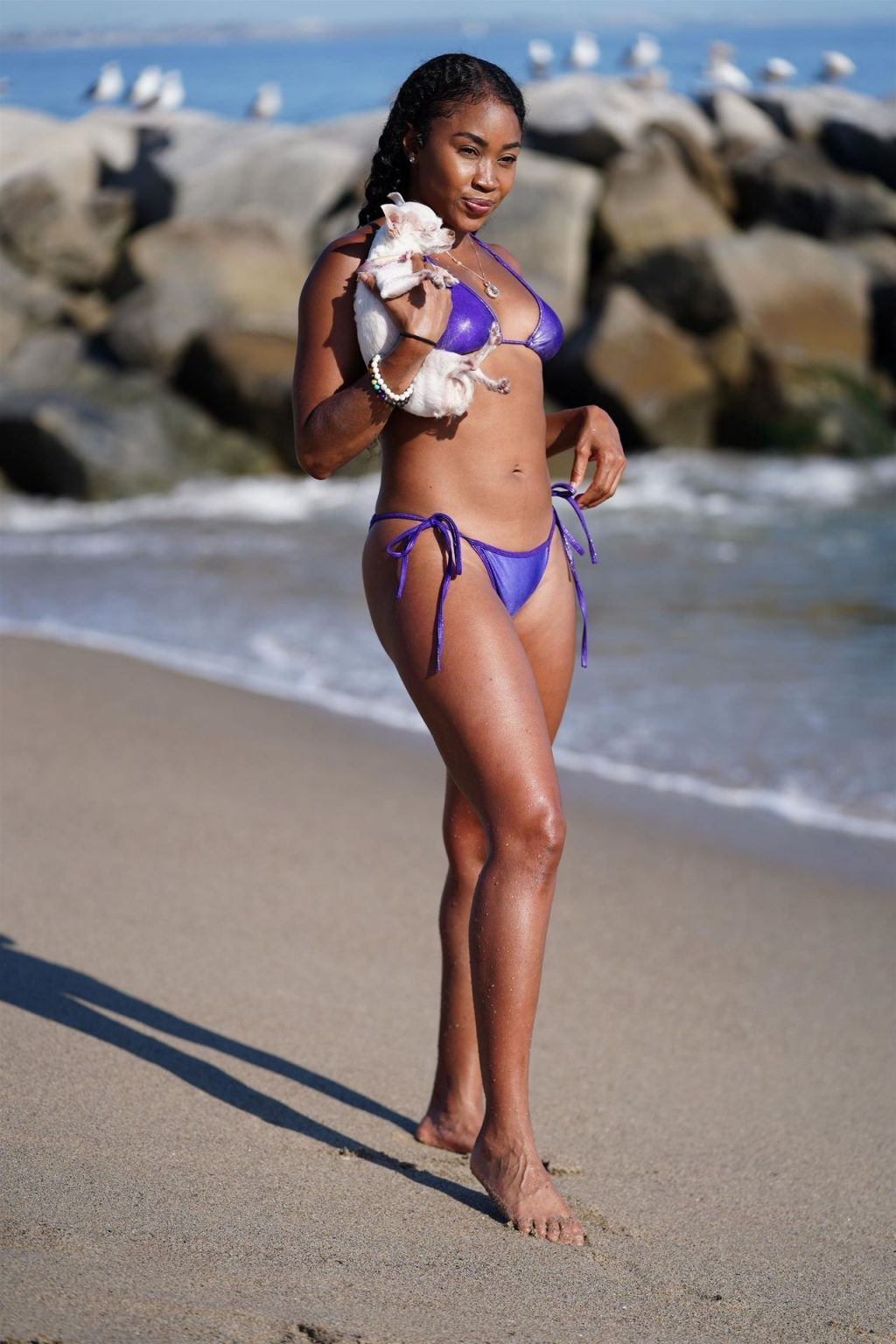 Ariane Andrew Takes Her Dog to the Beach in Santa Monica (78 Photos)