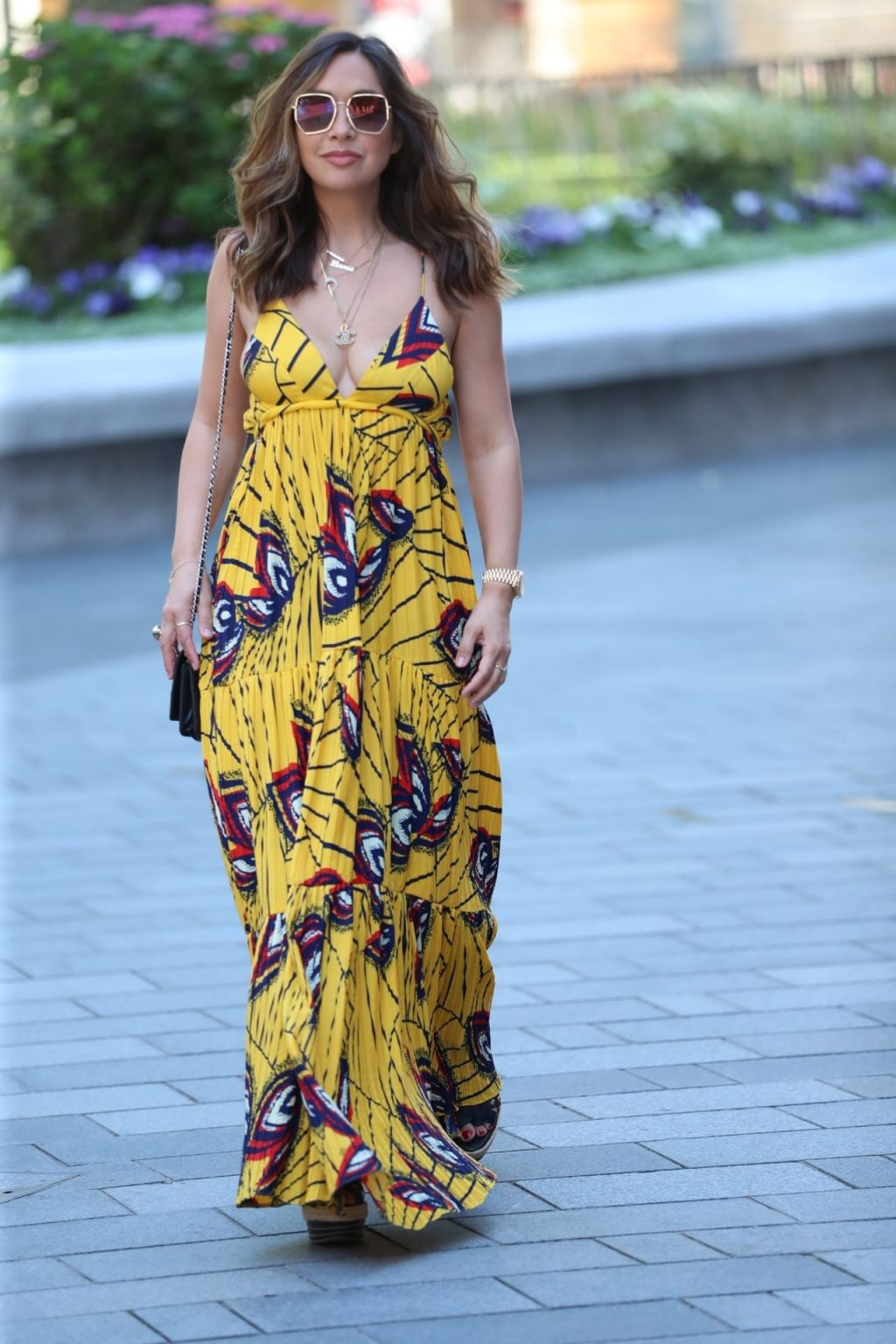 Myleene Klass Shows Off Her Cleavage in a Maxi Dress in London (15 Photos)