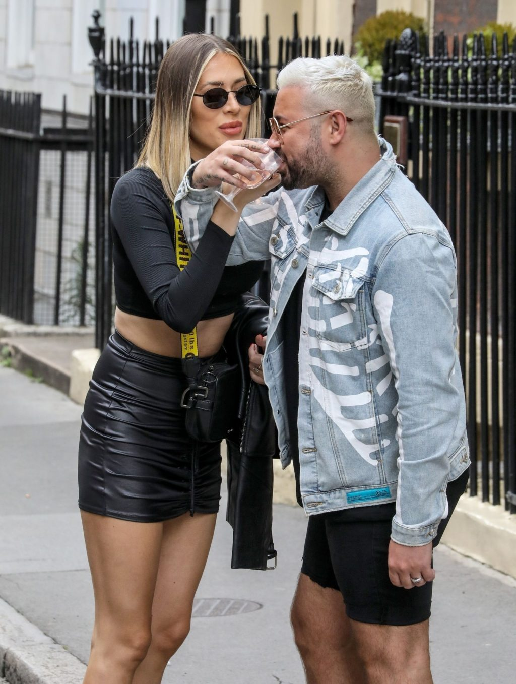 Demi Sims Cuts a Stylish Figure in a Crop Top and Leather Mini Skirt in London (79 Photos)