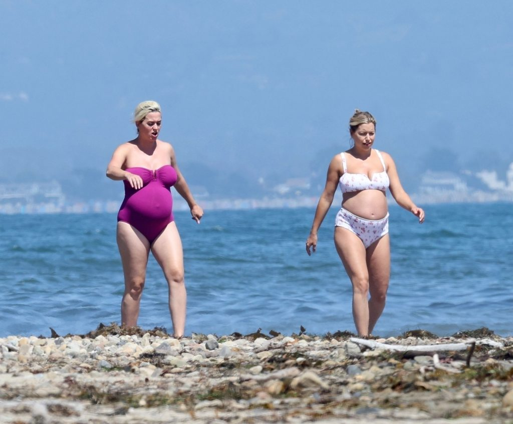 Heavily Pregnant Katy Perry Slips Into a Plum One-piece for a Swim in Malibu (52 Photos)