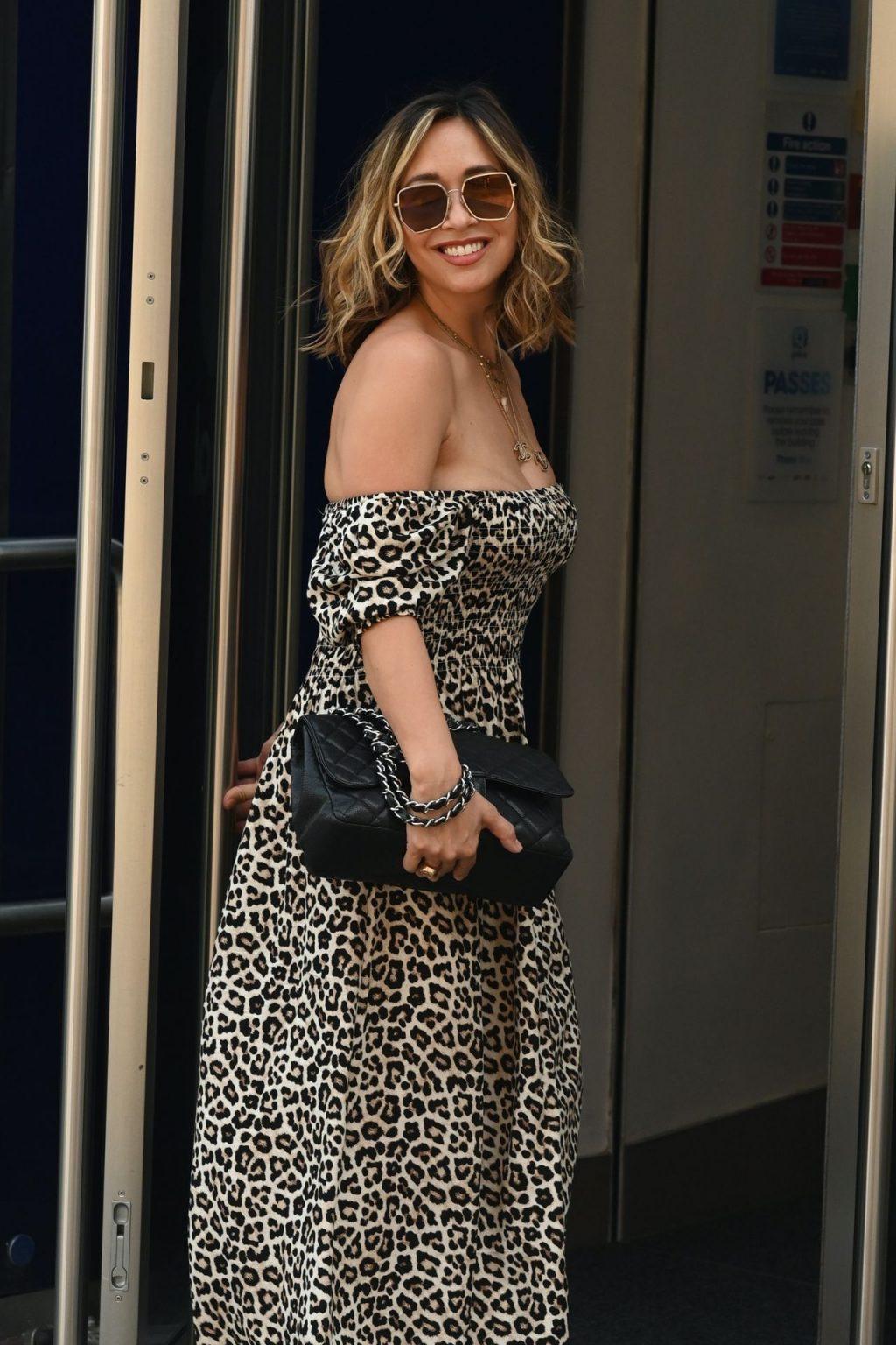 Myleene Klass Arrives Smooth Radio in a Leopard Print Maxi Dress (23 Photos)