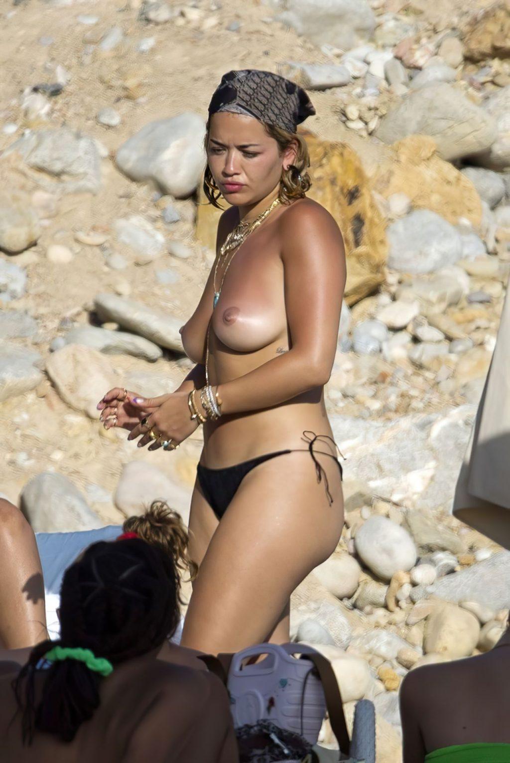 Rita Ora Shows Off Her Nude Boobs While on Vacation (24 Photos)