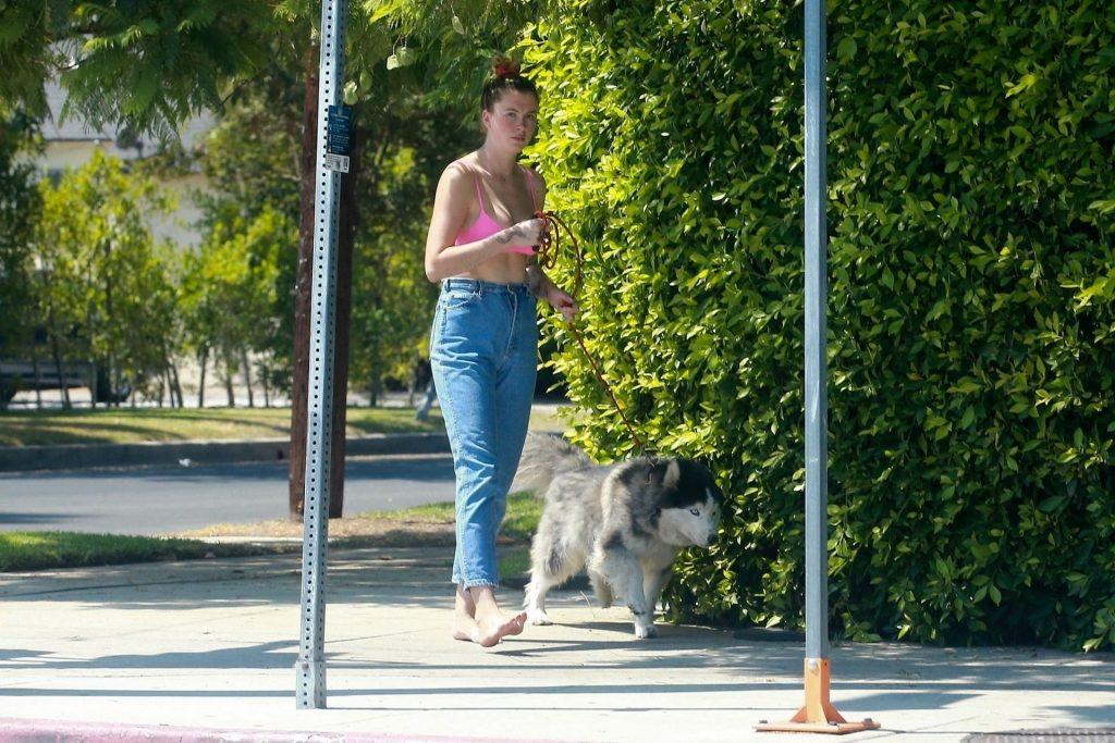 Ireland Baldwin Takes Her Dog for a Walk Around Her Neighborhood (13 Photos)
