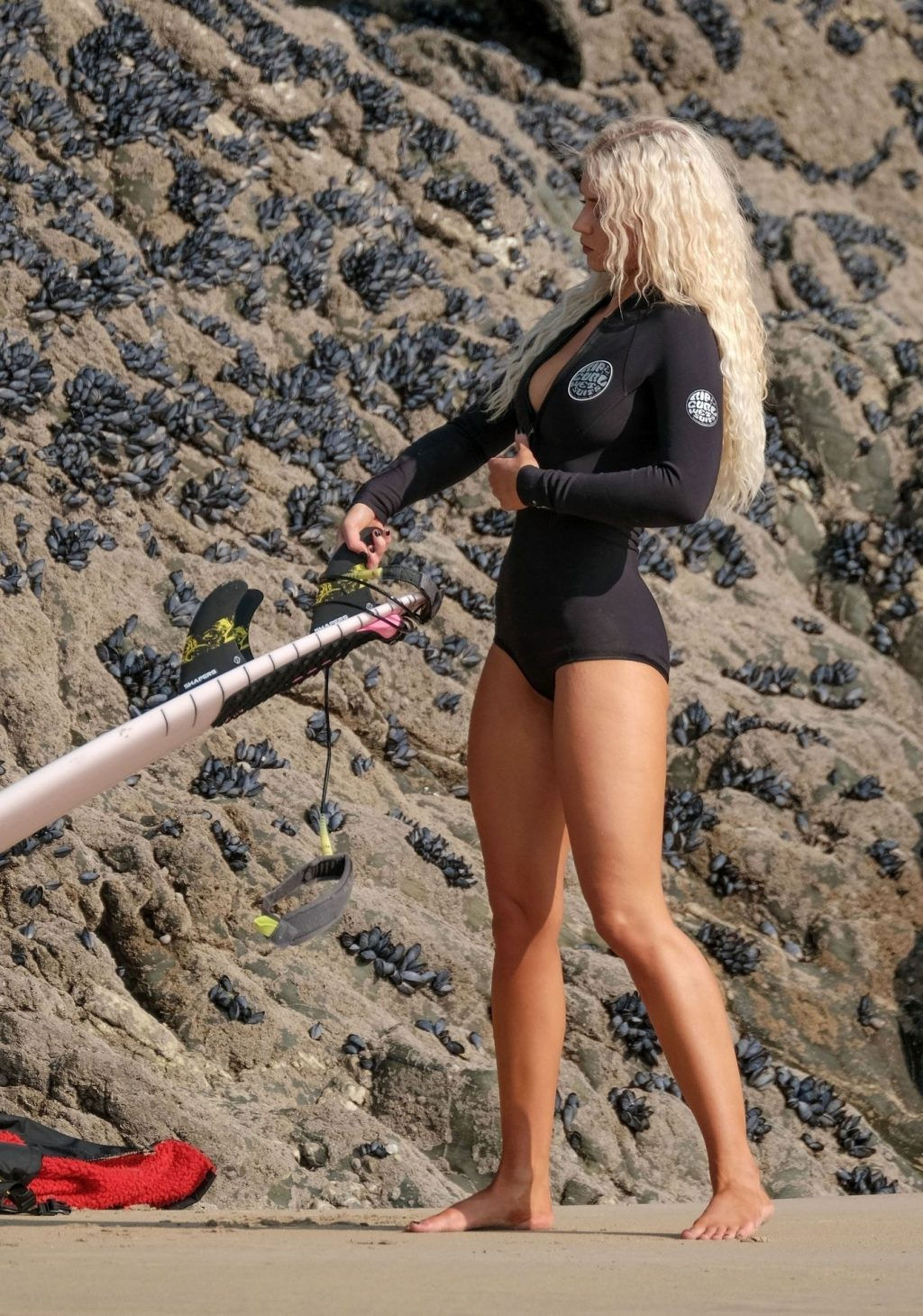 Lucie Donlan Looks Amazing in Her Black Wet Swimsuit on the Beach (30 Photos)