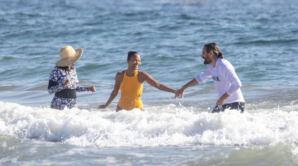 Zoe Saldana & Marco Perego Hold Hands as They Go for a Swim (47 Photos)