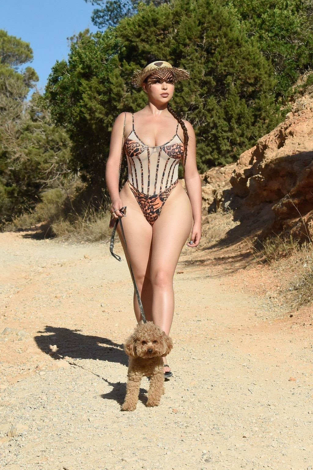 Demi Rose Shows Off Her Curvy Figure Walking Her Dog in Ibiza (12 Photos)